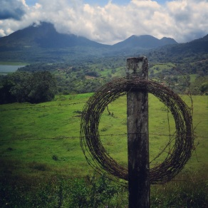 Wire and rust overlooking Volcan Arenal