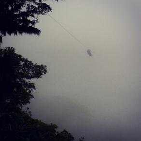 John ziplines into the mist