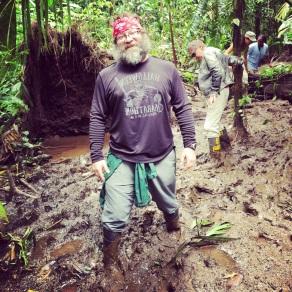 Hiking through the mud in Tortuguero