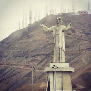 Christ statue on the hill over Lima