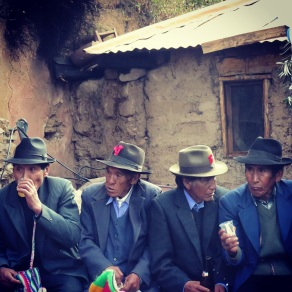 Drunk men at an Amantani wedding