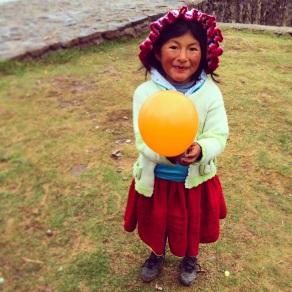 Pilar and the balloon on Amanatani Island, Lake Titicaca