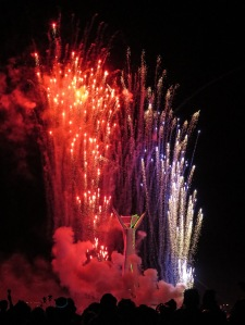 Great fireworks surround the Man for Sunday's burn.