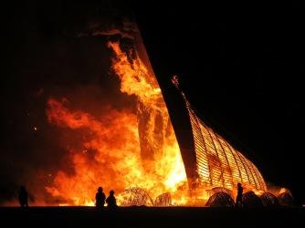 The Temple burn is a very sober affair